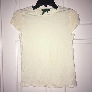 Lauren by Ralph Lauren Cream rayon stretch shirt